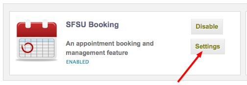 Appointment Settings link