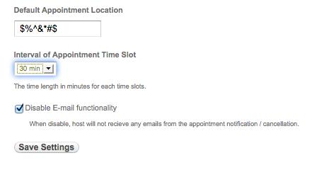 Appointment Settings options