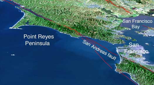 Satellite image of the Point Reyes region north of San Francisco